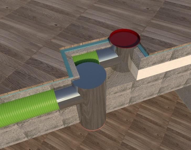Umiestnenie potrubia rekuperácie v podlahe poschodia
