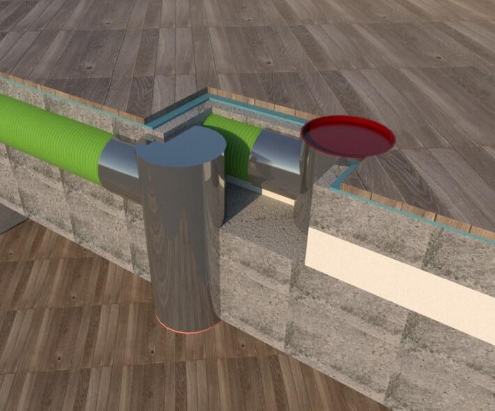 potrubie vzduchu v podlahe